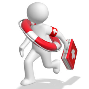 Arzt mit Rettungsring